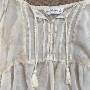 Sheer Abercrombie Blouse with Gold Flowers :)
